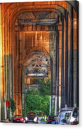 Twilight Under A Fremont Bridge Canvas Print by Chris Anderson
