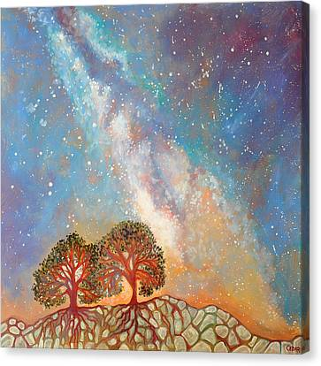 Twin Trees And The Milky Way Canvas Print by Cedar Lee