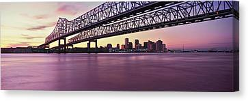 Twins Bridge Over A River, Crescent Canvas Print by Panoramic Images