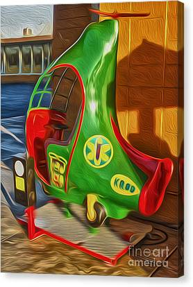 Twirly Bird - Red And Green Canvas Print by Gregory Dyer