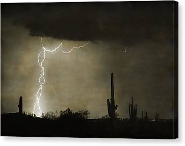 Twisted Desert Lightning Storm Canvas Print by James BO  Insogna