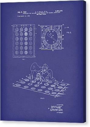 Twisting Game 1969 Patent Art Blue Canvas Print by Prior Art Design