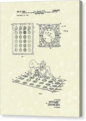 Twisting Game 1969 Patent Art Canvas Print by Prior Art Design