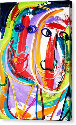 Two Abstract Faces Canvas Print by Matthew Brzostoski