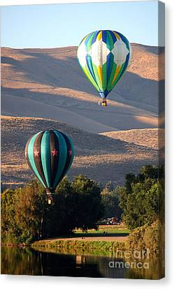 Two Balloons In Morning Sunshine Canvas Print by Carol Groenen