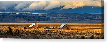 Two Barn Sunset Canvas Print by James Eddy