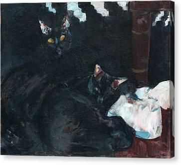 Two Black Cats Canvas Print by Anita Dale Livaditis