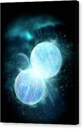 Two Blue Stars Merging Canvas Print by Victor Habbick Visions