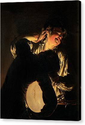 Two Boys Fighting Over A Bladder Canvas Print by Joseph Wright of Derby
