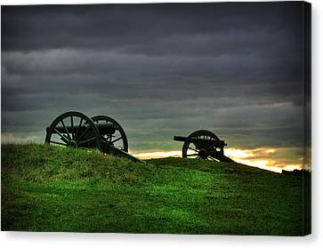 Two Cannons At Gettysburg Canvas Print by Bill Cannon