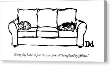 Two Cats Curl Up At Each End Of A Sofa Canvas Print by Drew Dernavich
