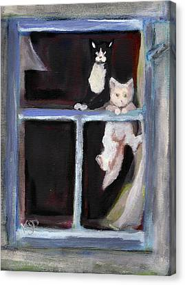 Two Cats Find An Old Window Sill Canvas Print by Kemberly Duckett