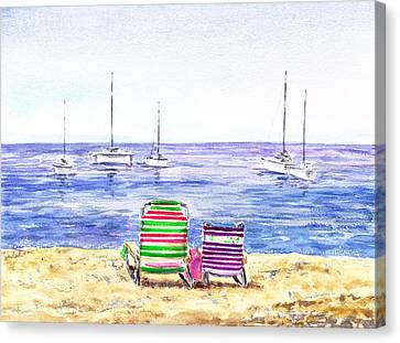 Two Chairs On The Beach Canvas Print by Irina Sztukowski
