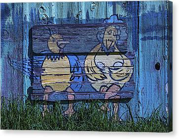 Two Chickens Mural Canvas Print by Garry Gay