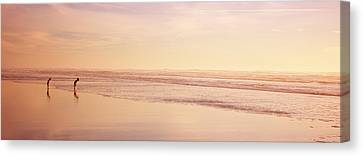 Two Children Playing On The Beach, San Canvas Print by Panoramic Images