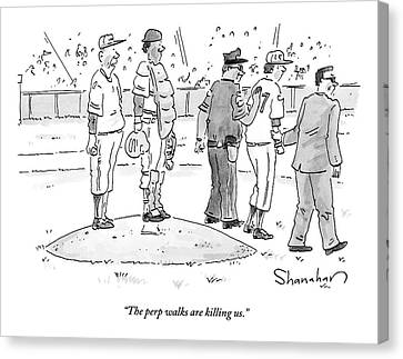 Two Cops, One In Plain Clothes, Arrest A Pitcher Canvas Print by Danny Shanahan