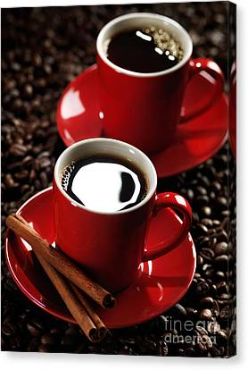 Two Cups Of Coffe On Coffee Beans Canvas Print by Oleksiy Maksymenko