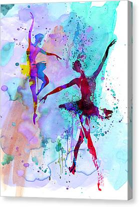 Two Dancing Ballerinas Watercolor 2 Canvas Print by Naxart Studio