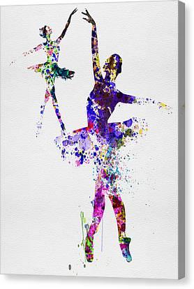 Two Dancing Ballerinas Watercolor 4 Canvas Print by Naxart Studio