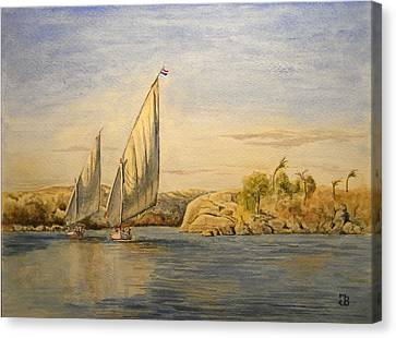 Two Feluccas Canvas Print by Juan  Bosco