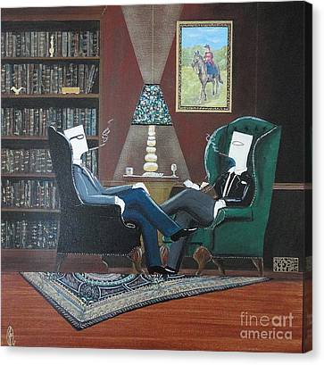 Two Gentlemen Sitting In Wingback Chairs At Private Club Canvas Print by John Lyes