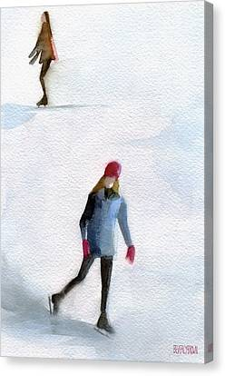Two Girls Ice Skating Watercolor Painting Canvas Print by Beverly Brown