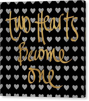 Two Hearts Become One Pattern Canvas Print by South Social Studio