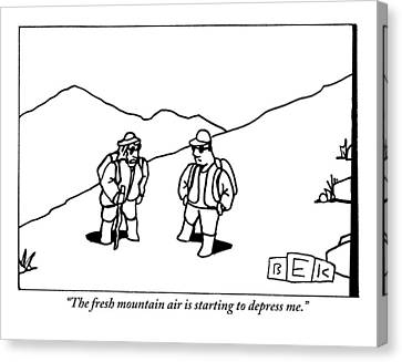 Two Hikers Are Talking To Each Other Outdoors Canvas Print by Bruce Eric Kaplan