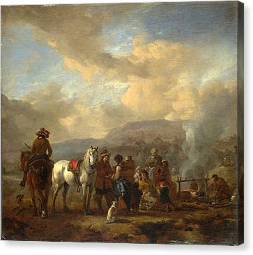Two Horsemen At A Gipsy Encampment Canvas Print by Philips Wouwerman