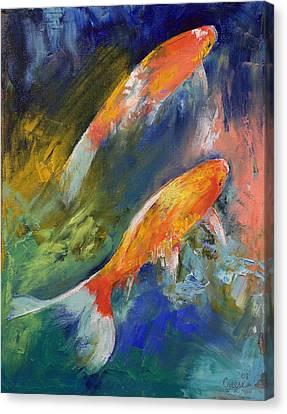 Two Koi Fish Canvas Print by Michael Creese