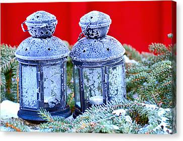 Two Lanterns Frozty Canvas Print by Toppart Sweden