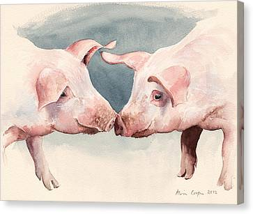 Two Little Piggies Canvas Print by Alison Cooper