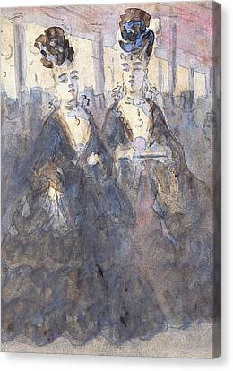 Two Lorettes At The Theater Canvas Print by Constantin Guys