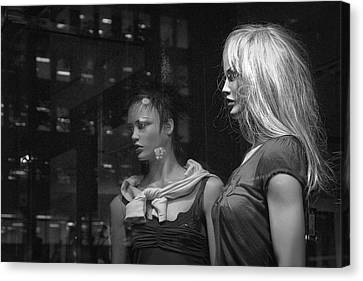 Two Mannequins In Shop Window Display Canvas Print by Randall Nyhof