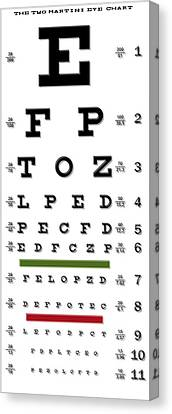 Two Martini Eye Chart Canvas Print by Daniel Hagerman