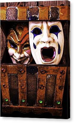 Two Masks In Box Canvas Print by Garry Gay