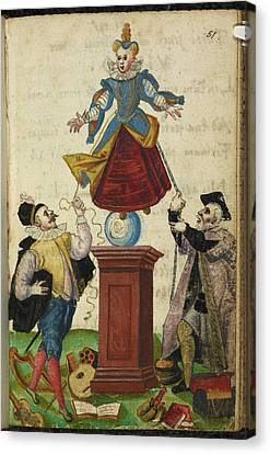 Two Men Pulling The Strings Of A Puppet Canvas Print by British Library