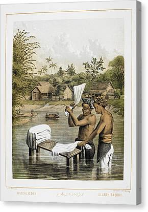 Two Men Washing Laundry In A River Canvas Print by British Library