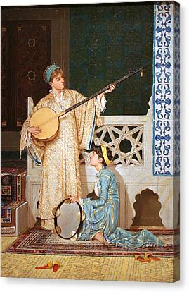 Two Musician Girls Canvas Print by Celestial Images