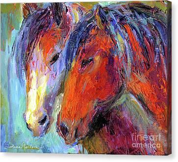 Two Mustang Horses Painting Canvas Print by Svetlana Novikova