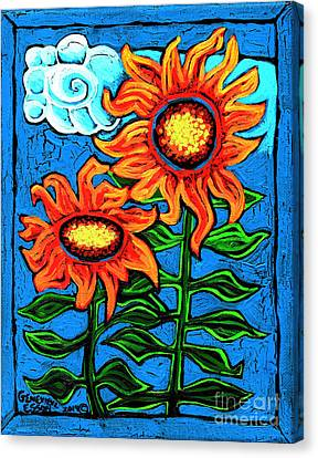 Two Orange  Sunflowers II Canvas Print by Genevieve Esson