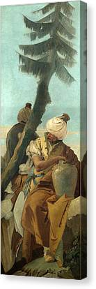 Two Orientals Seated Under A Tree Canvas Print by Giovanni Battista Tiepolo