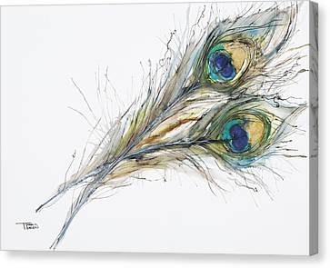 Two Peacock Feathers Canvas Print by Tara Thelen