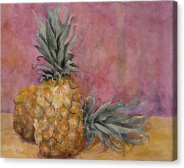 Two Pineapples Art Painting Canvas Print by Blenda Studio