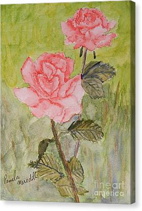 Two Pink Roses Canvas Print by Pamela  Meredith