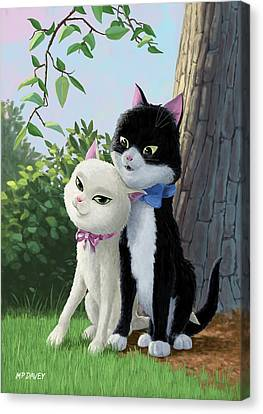 Two Romantic Cats In Love Canvas Print by Martin Davey