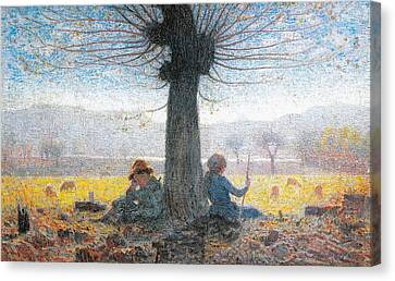 Two Shepherds On The Fields Of Mongini Canvas Print by Giuseppe Pelizza da Volpedo