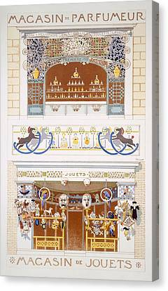 Two Shop-front Designs A Perfume Canvas Print by Rene Binet