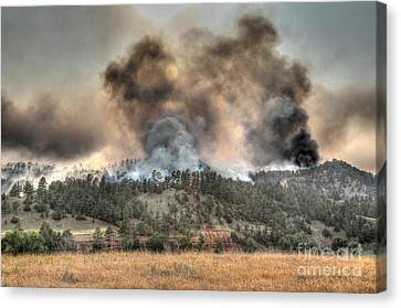 Canvas Print featuring the photograph Two Smoke Columns White Draw Fire by Bill Gabbert