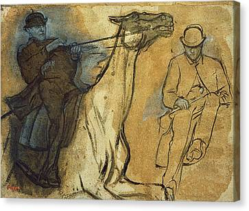 Two Studies Of Riders Canvas Print by Edgar Degas